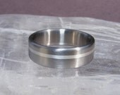 Titanium Offset Silver Solstice Inlay Ring Wedding Band