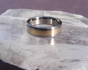 Titanium Yellow Gold Center Line Wedding Band Ring
