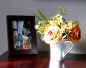 Golden Ranunculus with Green Hydrangeas in White China Mug - Flower Arrangement