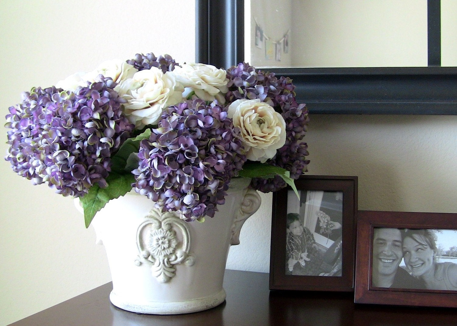 Silk flower arrangement lilac hydrangeas in by fionaandflowers