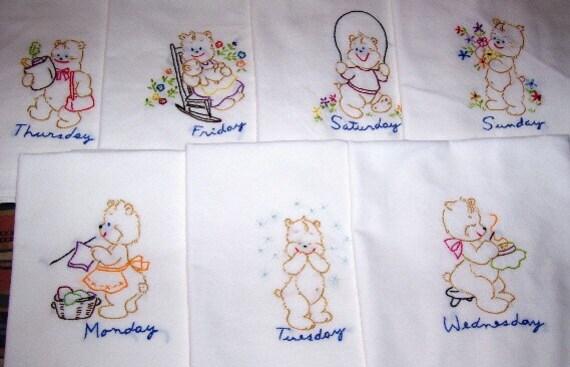 "Hand Embroidered ""Bear"" Tea Towel/Dish Towel Set"