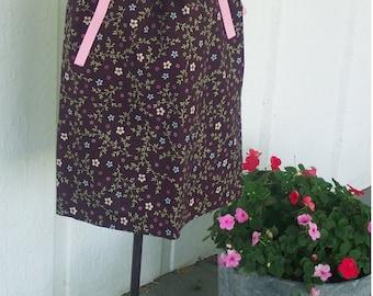 Pillowcase Dress - Sizes 18 24 Months 2 3 4 5 toddler 4 5 6 7 8 9 10 Years - Mocha Flowers - Burgundy fairy flowers