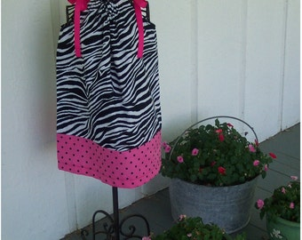 PillowCase Dress - Zebra Stripes - Hot pink with black dots - Pick your size - 12 18 months 2T 3T 4T 5 6 7 8 years