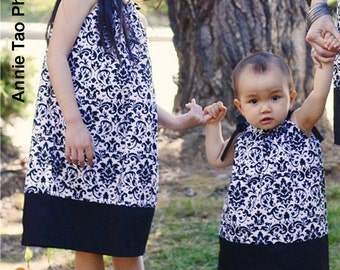 PillowCase Dress - Black and White Damask - Pick your size - Size 12m 18m 24m 2t 3t 4t 5 6 7 8 Years