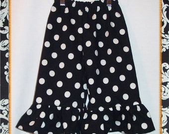 Ruffle Pants - white polka dots on black - MORE COLORS! - Sizes 12 Months through 6 Years