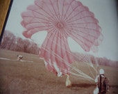 Vintage Photograph Skydiver with Parachute