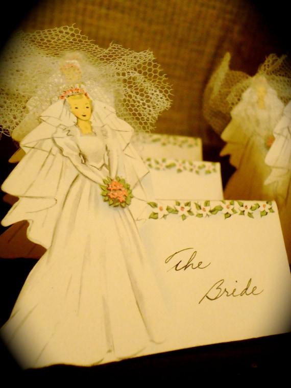 Vintage Bride Groom Wedding Paper Bridal Placeholders