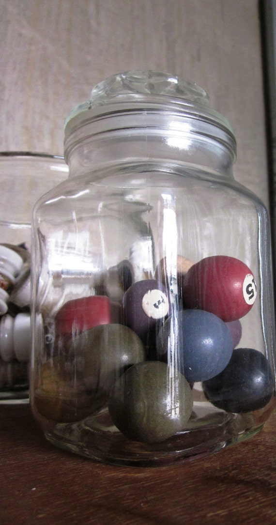 Decorative Glass Jar with Vintage Mini Billiard Balls