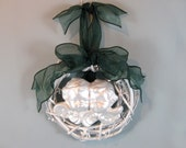 Grapevine Wreath,Two Cherubs, Pearl Metallic Finish, Hunter Green Bow and Hanger