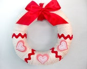 Sweetheart Wreath, White Wrapped, Valentine's Day, Pink and White Felt Hearts, Red Rickrack, Red Bow
