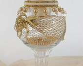 Candle Holder/Vase, Vintage Victorian Style Pedestal, Gold Mesh, Gold/White Beads, Gold Ribbon