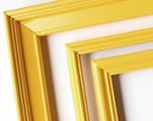 Reclaimed Bright Yellow Frames - Set of 3