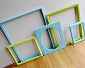 Reclaimed Aqua and Lime Green Frames - Set of 5