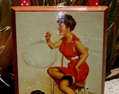 1950s Vintage Inspired Cigar Box Purse Pin Up Girl Hot Rod Rockabilly by Stacy Williams OOAK