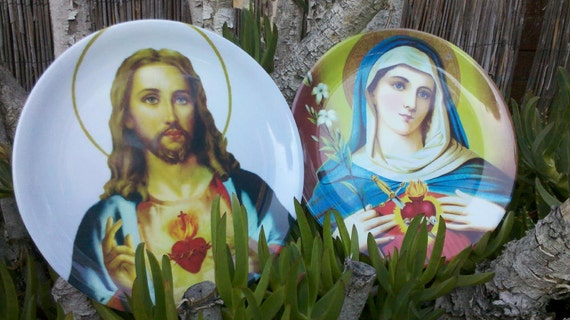 Jesus Christ and Virgin Mary Sacred Heart Plastic Plates