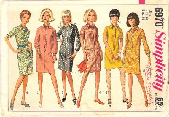 1960s Mod Mad Men Womens Dress Vintage FACTORY FOLDED Sewing Pattern Simplicity 6970 Bust 34