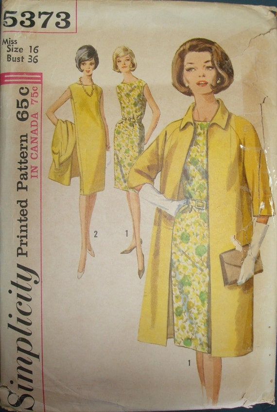 1960s Mad Men Mod Sheath One Piece Dress and Coat Vintage Sewing Pattern Simplicity 5373 Bust 36