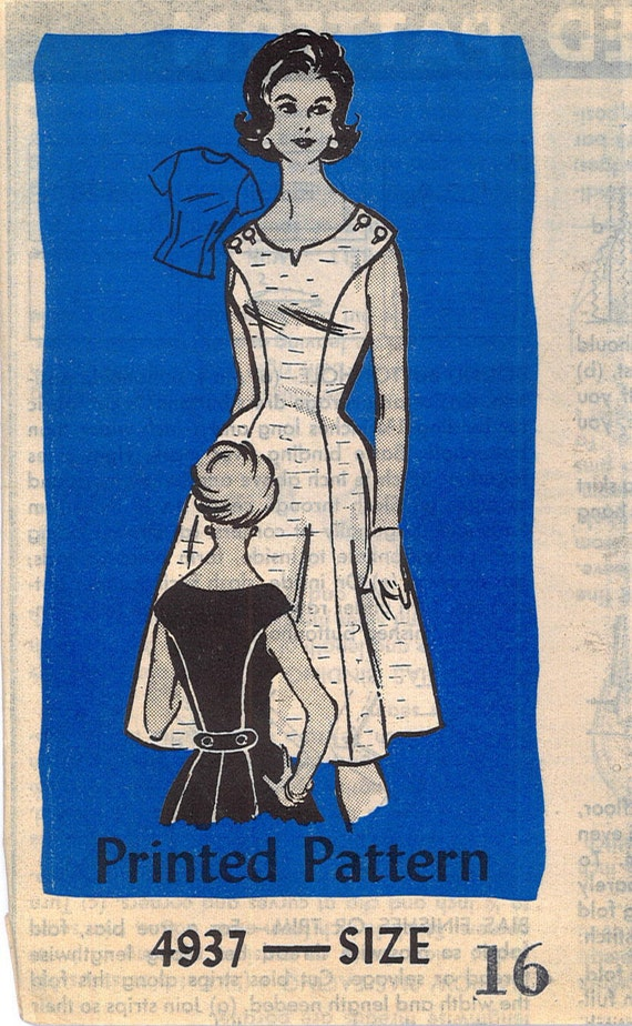 1960s Mad Men Womens Sundress Short Sleeve Dress Vintage Sewing Pattern FACTORY FOLDED Mail Order 4937 Bust 36