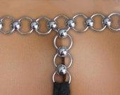 black lace loop thong size medium - ready to ship