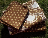 bedding set, vintage brown and yellow, buttercups, bed linen,....single duvet, sheet and 2 pillow cases...