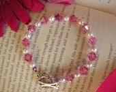 Sale: Princess Pink Swarovski Crystals and Pearl Bracelet Pink Crystal Silver Toggle