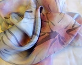 Hand painted silk scarf in pink and light blue pastel. Crocuses by Alery