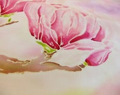 Hand painted silk scarf pink rose crepe de chine magnolia flowers. by Alery
