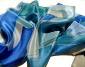 Hand painted silk scarf in blue gray teal. Rain in the City. by Alery