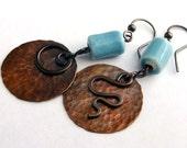 Copper earrings. Big. Hammered. Light Blue Porcelain. by Alery