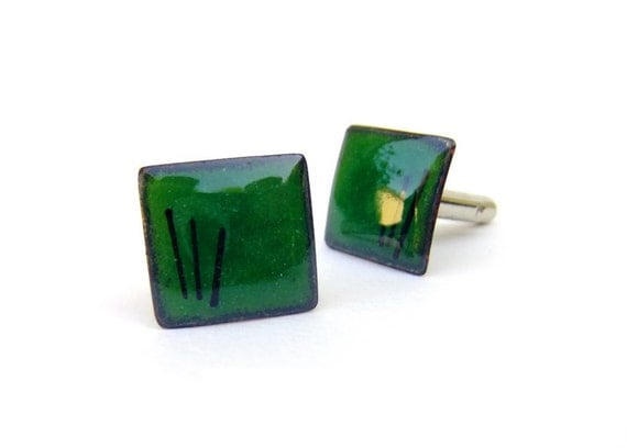 Cuff links emerald green mens womens wedding enamel rectangles by Alery