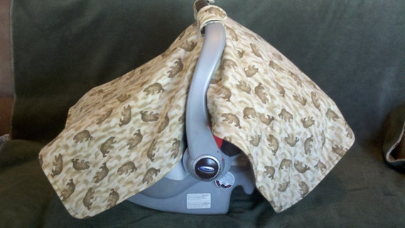 READY TO SHIP - On Sale - Carseat Tent, Canopy, Cover - Flannel Brown Bears and camo front, and solid brown backing