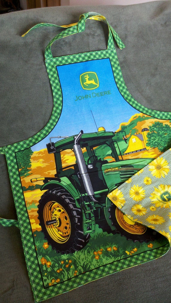 READY TO SHIP - His and Her Reversible Apron - John Deere style