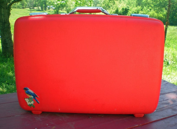 Vintage Hard Side Suitcase Cherry Red American Tourister with Bluebirds of Happiness