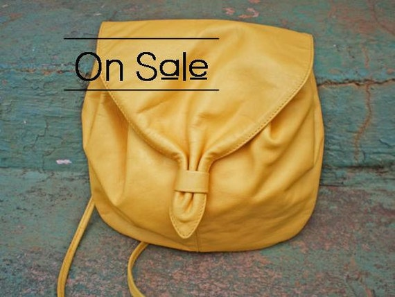 Reserved for Sinead - Vintage Handbag Canary Yellow Leather Drawstring Purse with Magnetic Clasp