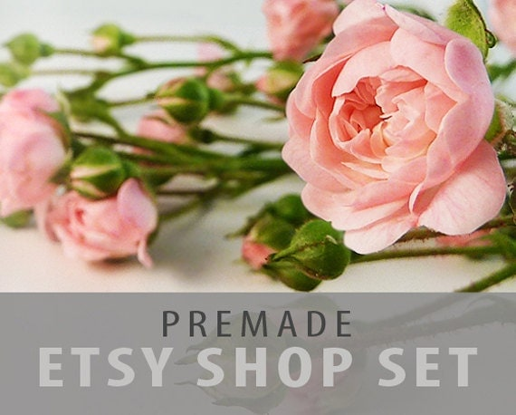 Etsy Shop Set - Premade Banner , Avatar , Listing Graphics - Pink Roses, Customizable