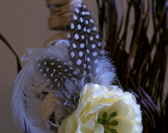 Light yellow flower hair clip guinea feather