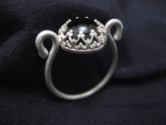 curly black onyx sterling silver ring
