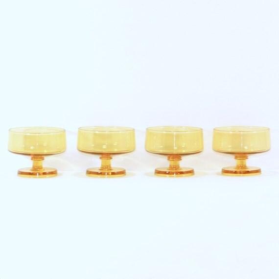 Vintage Mid Century Modern Dessert Cups in Marigold Yellow Glass