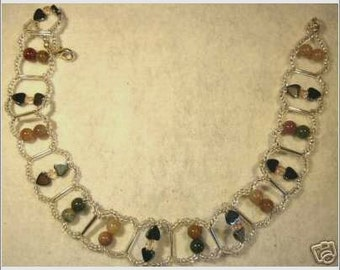 Handcrafted Indian Agate, Hematite and Brown Serpentine Necklace