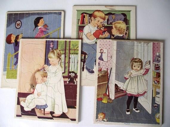 Playskool Puzzle Set 1960s Bedtime Toy Childrens Decor Retro Kids Style for Bedroom Nursery Golden Books Kitsch