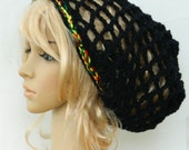 Slouchy Mesh..Snood..In Black and Rasta Multicolored Stripe