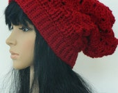 Slouchy Beanie Winter Slouchy Fashion Urban Boho Headwarmer  Adults Teens Women In Cranberry Red