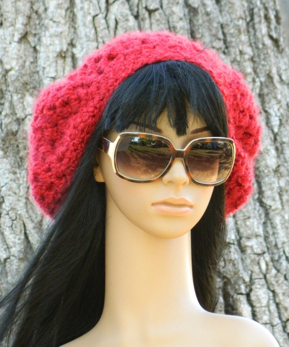Beret  Slouchy Boho Winter Fashion Stylish Tam  For Women And Teens In Red