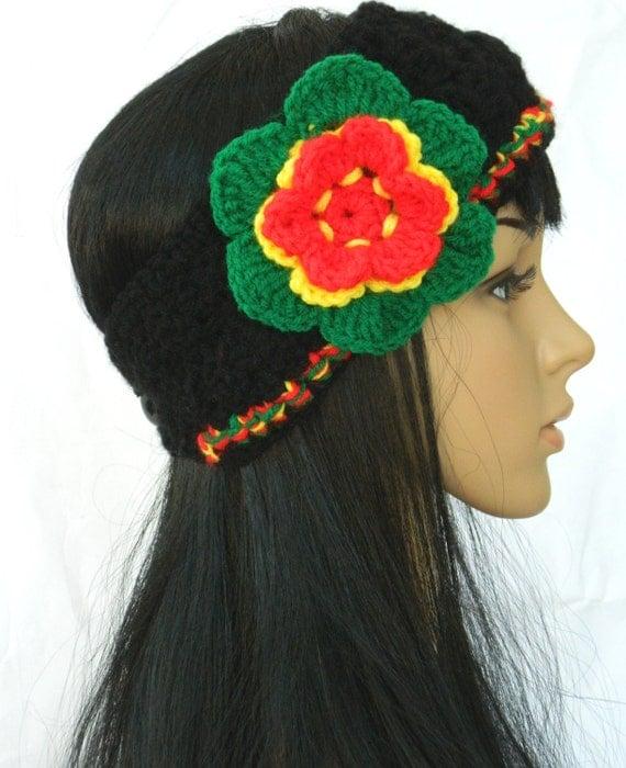 Black  Headband Headwarmwer Winter headband Women Teens In Rasta Colors