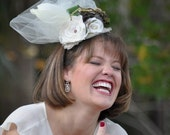 Bridal Hair Piece- OOAK Woodland Inspired Design with Fringed Belgian Linen, Flowers & Feathers