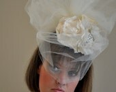 Bridal Headpiece in Ivory and Champagne with Dramatic Tulle Poof and Veiling- OOAK