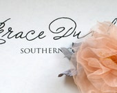 Bridal Hairpiece Petite Apricot Rose, Dusty Gray Velvet Leaves with Tulle