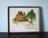 Framed Vintage Embroidered Farm House & Tree Wall Hanging