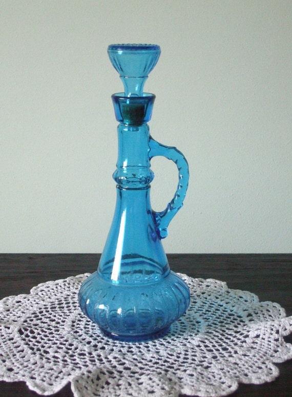 Vintage Blue Glass Genie Bottle / Decanter