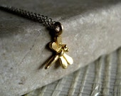 Tiny dragonfly necklace gold